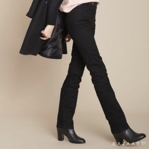 High Rise Straight Super Stretch Black Jeans